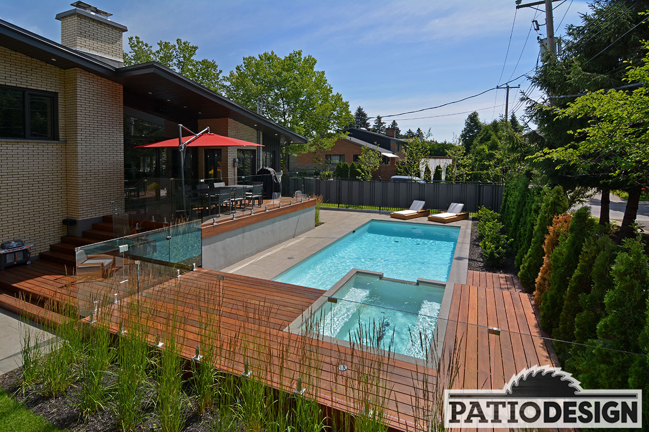 patios avec piscine creus e les r alisations de patio design inc. Black Bedroom Furniture Sets. Home Design Ideas