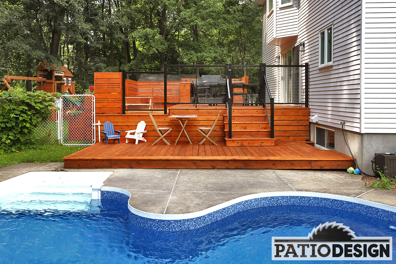 Conception fabrication et installation de patio autour d for Plan pour patio de piscine