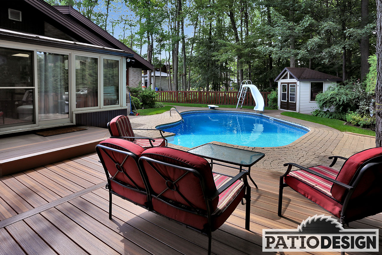 Design construction and installation of patios around a for Inground pool design inc