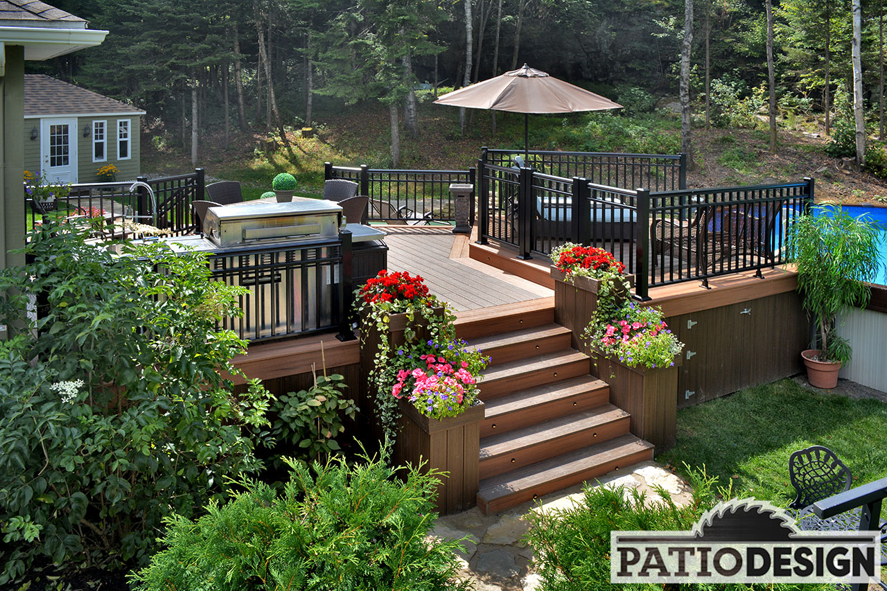Patios avec piscine hors terre les r alisations de patio design inc - Photo de terrasse ...