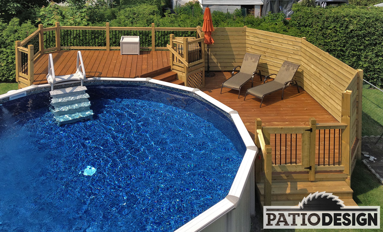 Conception fabrication et installation de patio autour d for Pool terre pour piscine
