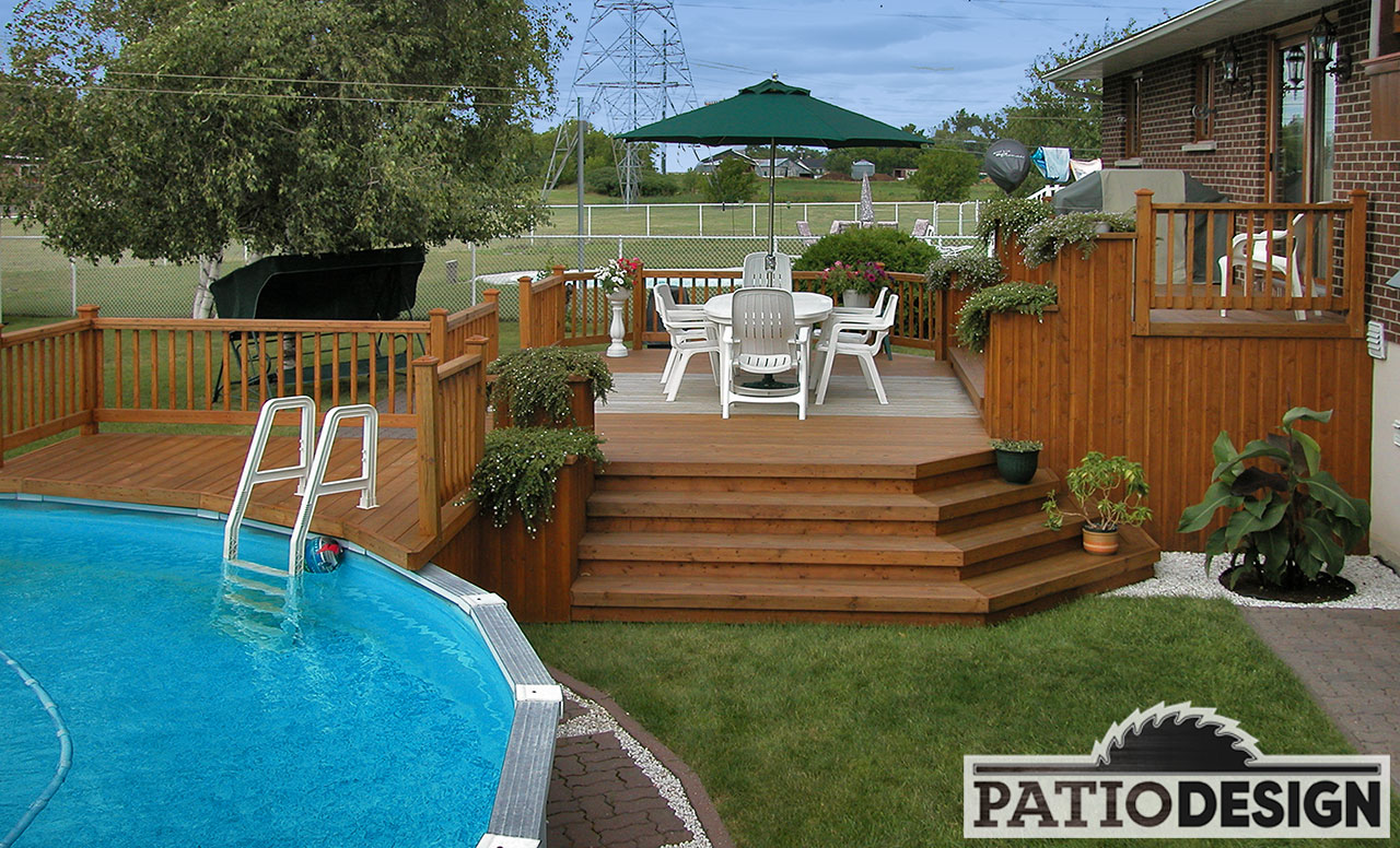 patios avec piscine hors terre les r alisations de patio design inc. Black Bedroom Furniture Sets. Home Design Ideas