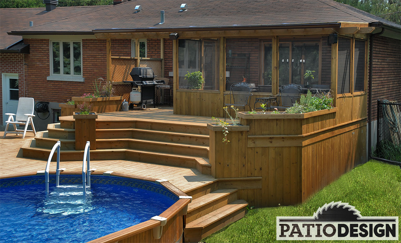 Patios avec piscine hors terre les r alisations de patio for Design patio exterieur
