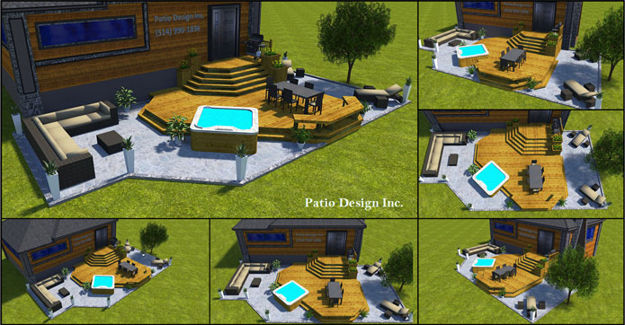 Plan 3d for Plan de patio exterieur en bois