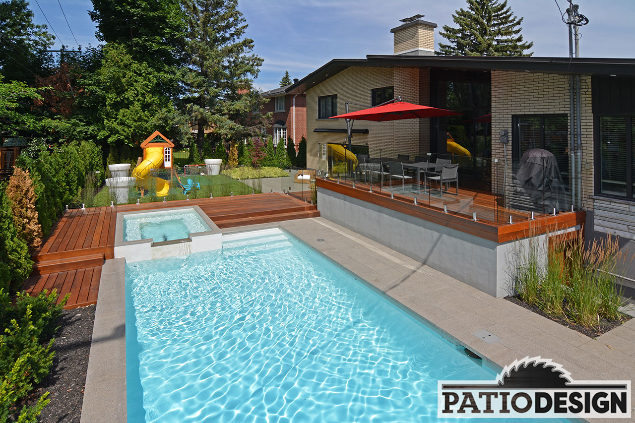 patio avec piscine creuse par patio design inc