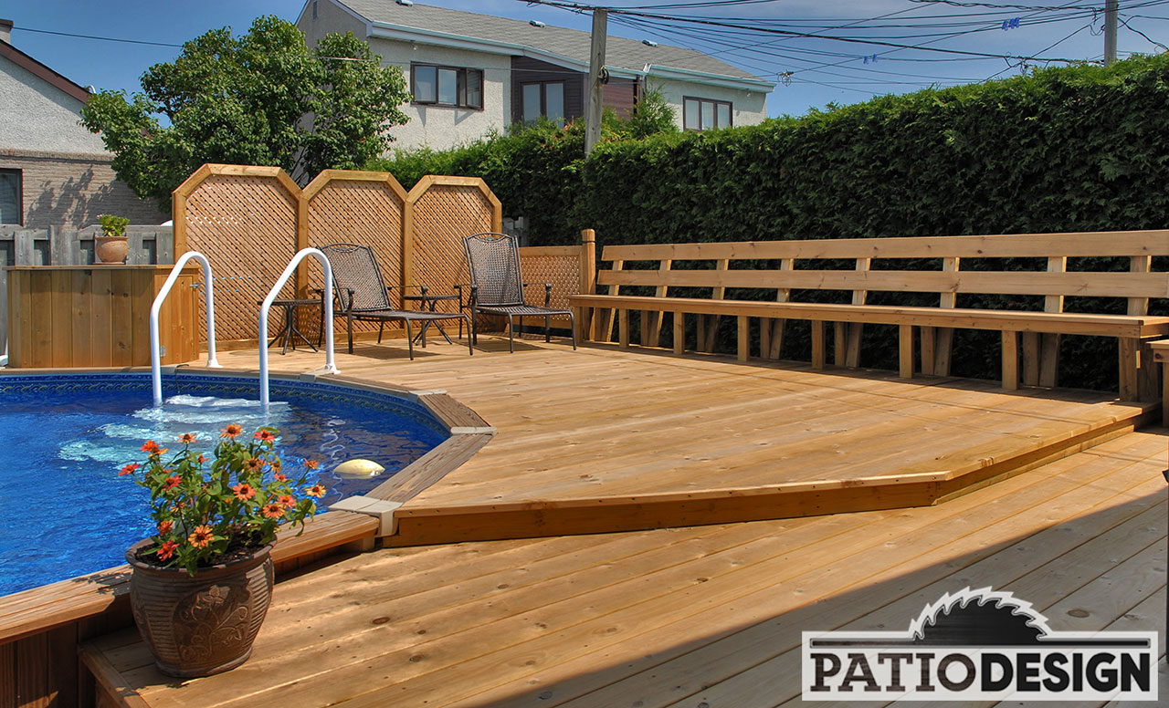 Patio design patios avec piscine hors terre les for Plan de deck de piscine