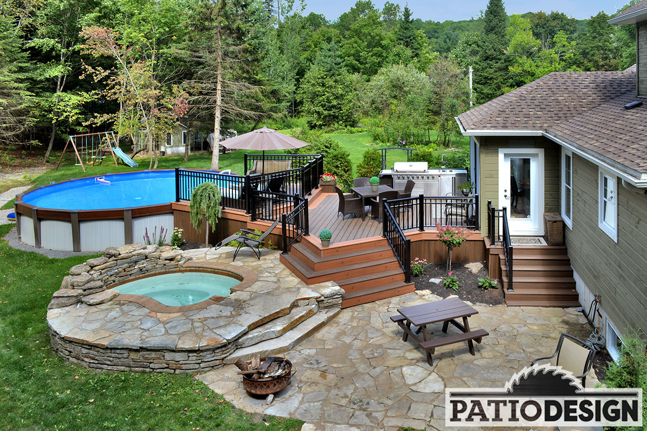Patio With Pool Trex Terrace By Patio Design Inc With Pool W