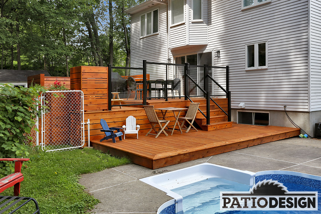 Patio design construction design de patios en bois trait for Patio exterieur modele