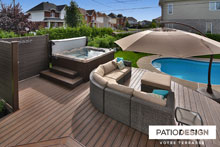 Patio with spa by Patio Design inc.