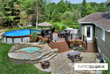 Patio with Pool made with Trex by Patio Design inc.