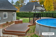Patio with overground pool by Patio Design inc.